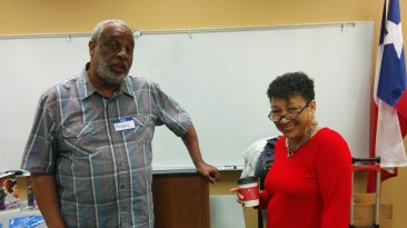 Vice President, Richard Glasco, with speaker Evelyn Palfrey, romance novelist.